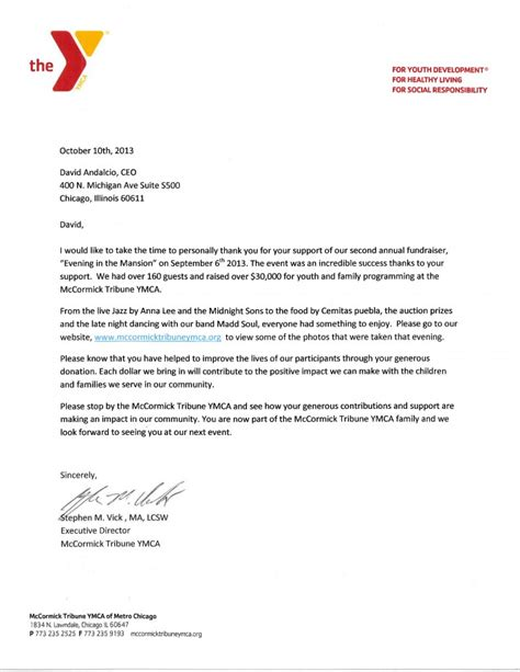 Cover Letter For Ymca 2013mccormick Tribune Ymca 2nd Annual Fundraiser Wynndalco Enterprises