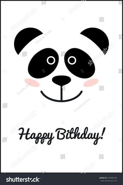 Panda Birthday Card Template by Panda Birthday Card Template Stock Vector