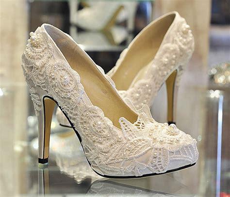 Sepatu Balet Elizabeth pearl white lace bridal shoes ballet flat shoes