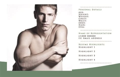 zed card template pin comp card zed design with photo retouching for model portfolio on