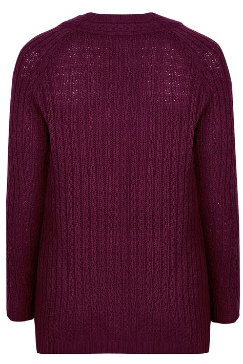 purple knitted jumper purple longline jumper with cable knit trim plus