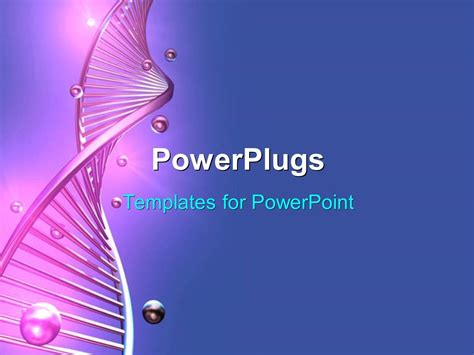 Powerpoint Template A Long Purple Colored Single Dna Strand On A Blue Background 9722 Dna Powerpoint Template