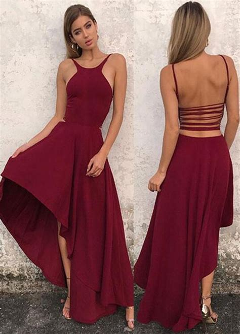 Simple A Line Prom Dress,Halter Prom Dress,High Low Prom
