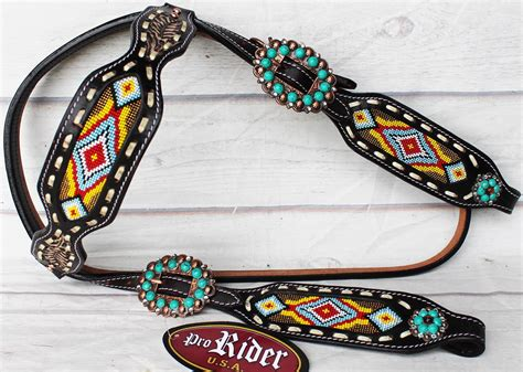 beaded tack show rodeo tack bridle western leather headstall