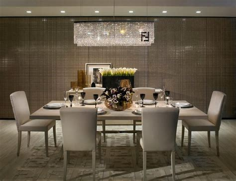 tappeti fendi modern dining room with pendant light hardwood floors