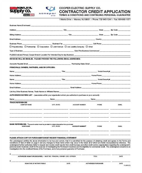 Credit Application Form For Builders Warehouse 11 contractor application forms free sle exle