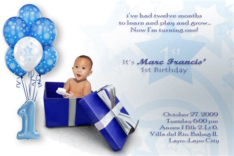 Baby Boy 1st Birthday Invitation Card Template by Baby Boy Birthday Invitations Free Invitation