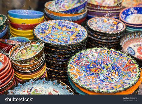 beautiful plates beautiful arabic plates selling on eastern stock photo 176934836
