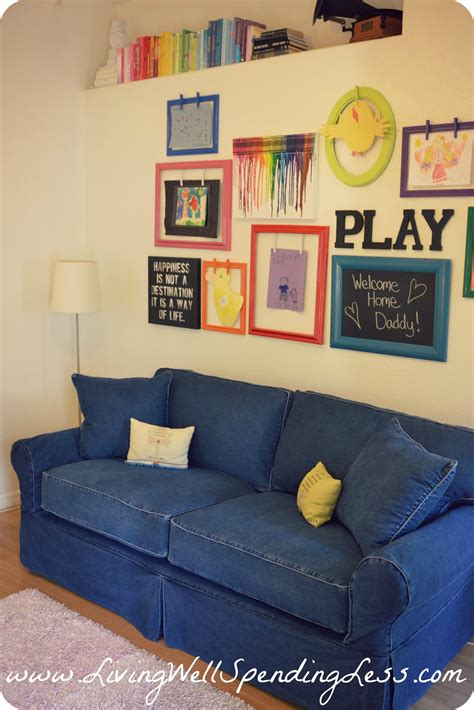 sofa for playroom rainbow family room kids playroom decorating ideas diy