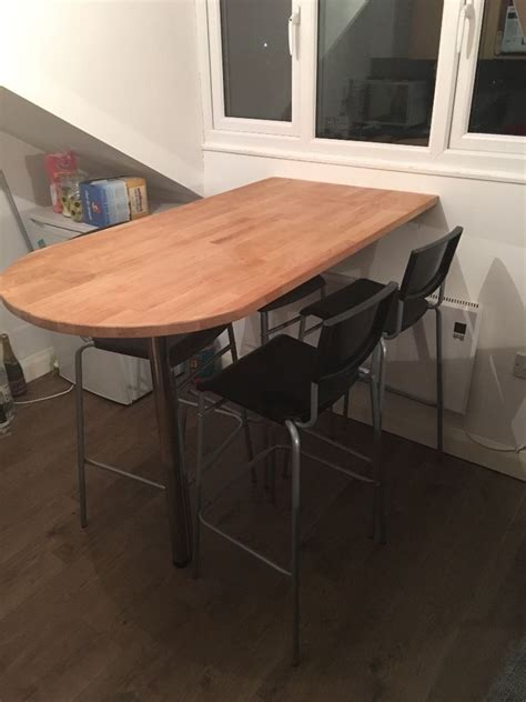 Wall Mounted Bar Table Breakfast Bar Table Wall Mounted With 4 Stool Chairs In Croydon Gumtree