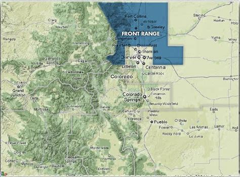 map of colorado front range colorado mountain ranges map bnhspine