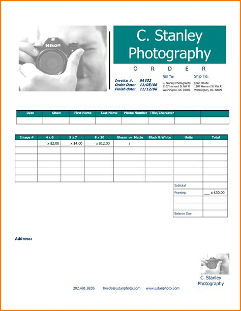Sle Photography Invoice Hardhost Info Excel Templates For Photographers