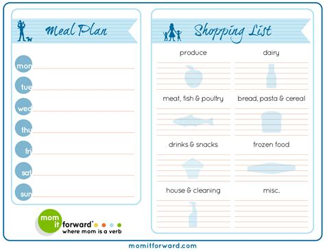 printable meal planner free printable meal planner and grocery list new