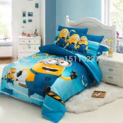 Toddler Bed Sheets Minion New Arrival Blue Minions Children Bedding