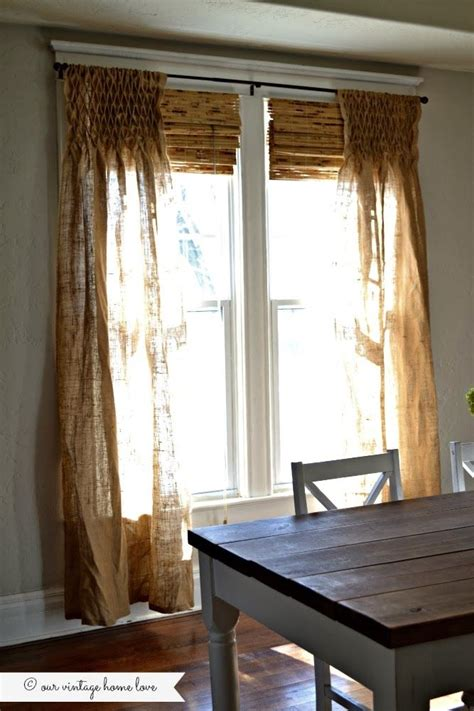 smocked burlap curtains our vintage home love diy smocked burlap curtains has
