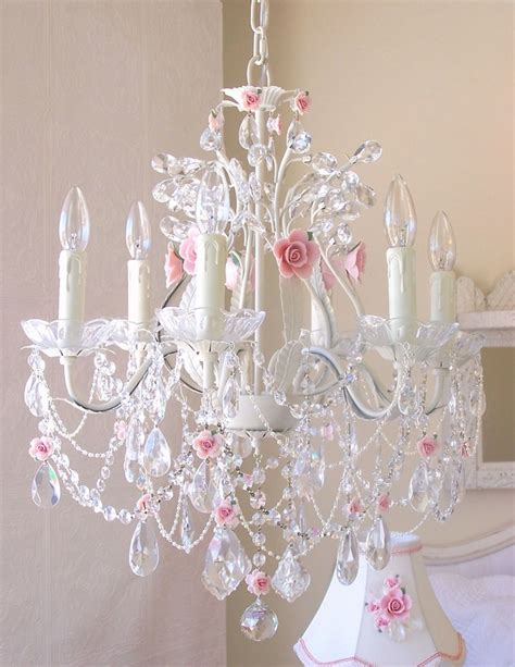 pink chandelier for girls room 6 light crystal chandelier with pink porcelain roses