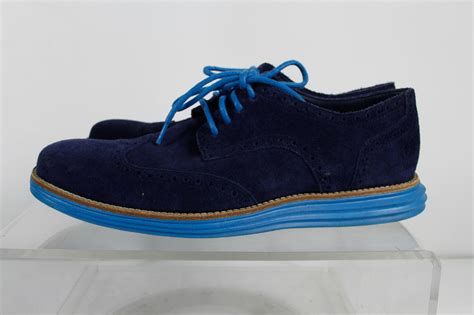 blue suede oxford shoes cole haan blue suede lace up oxford shoes size 8 5 m