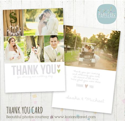 wedding thank you card template wedding thank you card photoshop template by paperlarkdesigns
