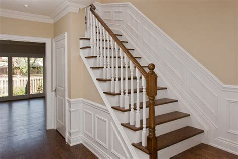new stairway with wainscoting traditional hall