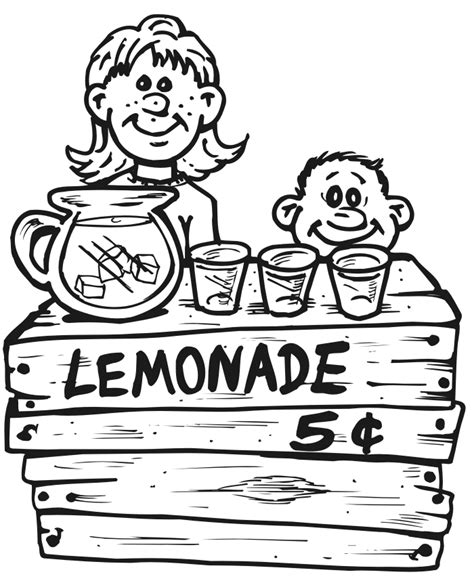 lemonade stand coloring pages coloring home