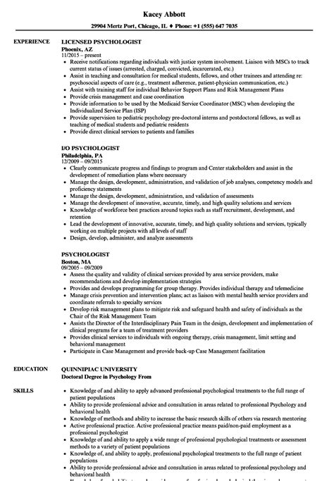 Psychologist Resume by Psychologist Resume Sles Velvet