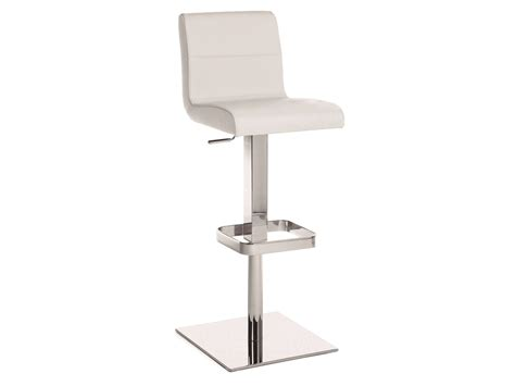 Contemporary White Leather Bar Stools by Italian White Leather Modern Bar Stools