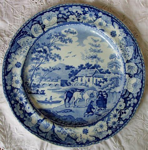 blue pattern pottery antique english georgian blue white transfer quot native