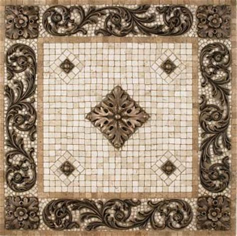 metal mural bellagio mosaic tile backsplash medallion 24