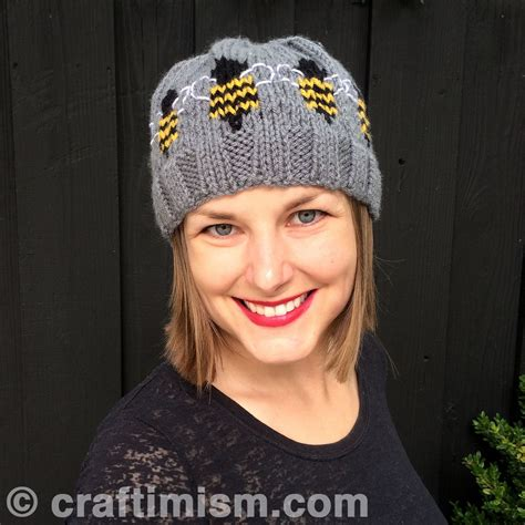 Bee Knit Hat bee patterned knit hat pattern by heidi arjes