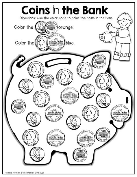 coloring pages money math summer review no prep kindergarten coins matching