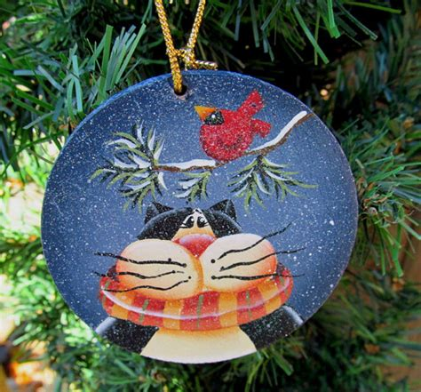 items similar to cat christmas wood ornament hand painted