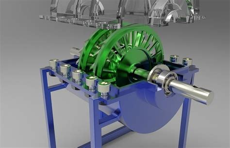 mini steam turbine engine  watts  model sldprt sldasm slddrw cgtradercom