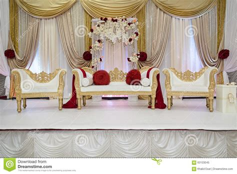 Red And Gold Wedding Stage Stock Photo   Image: 63103045