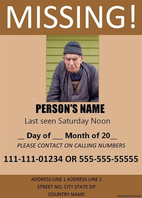 11 Missing Person Poster Templates Free Word Templates Missing Person Template