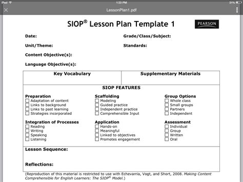 siop lesson plan template 3 word document new high school business