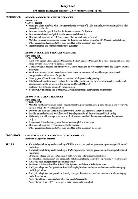 associate client services resume sles velvet
