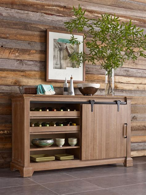 Kincaid Dining Room Furniture transitional rustic sliding barn door buffet with wine