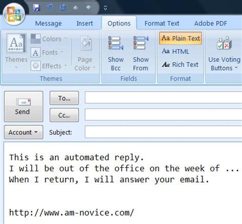 out of office message outlook 2010 template best photos of out of office reply outlook out of office