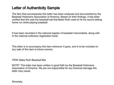 Letter Of Authenticity Template letter of authenticity for autographs go search