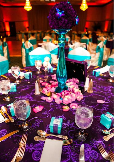 Lila Top Teal White turquoise and purple wedding used turquoise glass pillars