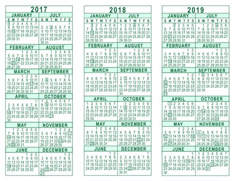 printable 3 year calendar 2017 to 2019 printable calendar