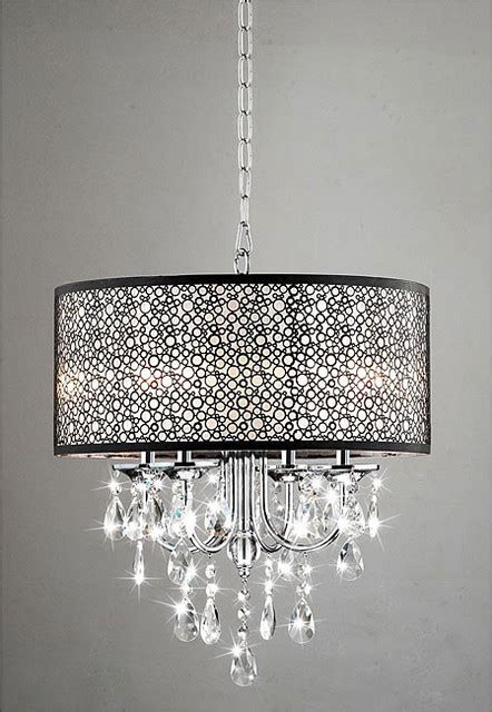 Contemporary Bedroom Chandeliers Indoor 4 Light Chrome Metal Shade