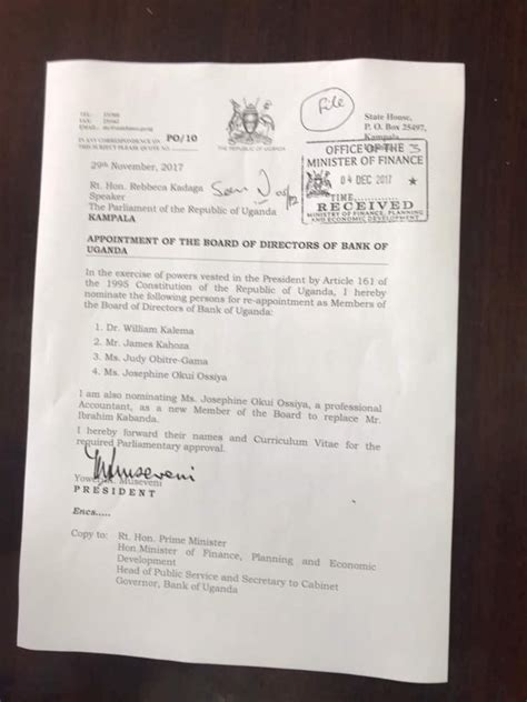 appointment letter uganda museveni appoints new board members at bank of uganda