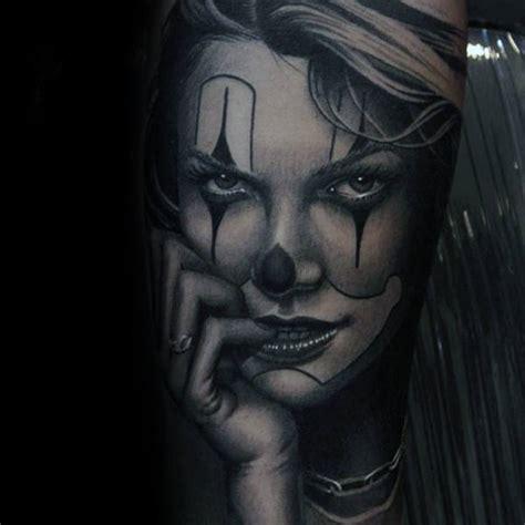 clown girl tattoo 75 clown tattoos for comic performer design ideas