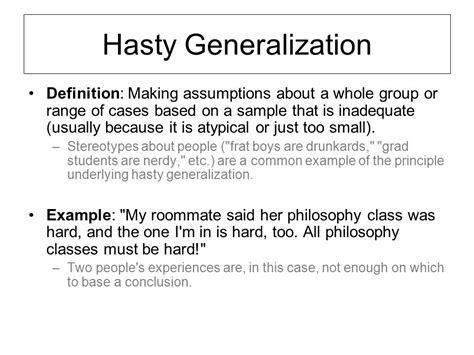 exle of hasty generalization courtesy of logical fallacies take notes courtesy of