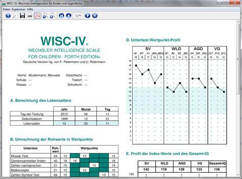 wisc iv sle report wisc iv auswertungsprogramm