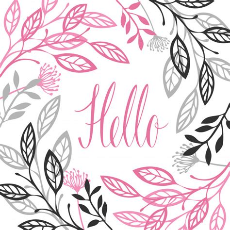 abstract floral frame gray and pink color hello