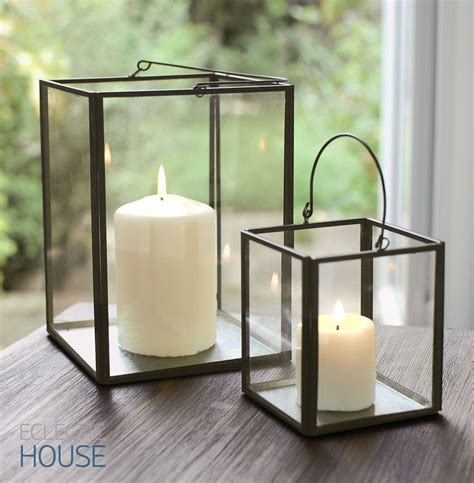 zinc metal frame glass box lantern tealight votive