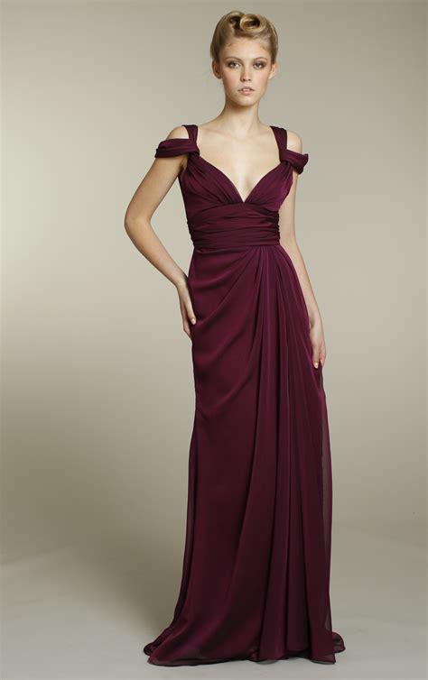 longdress maroon chiffon bridesmaids dress in rich maroon color
