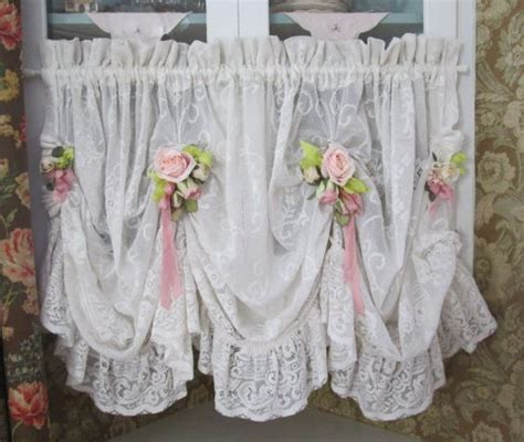 shabby chic ruffled lace valance swag curtain pink roses shabby chic  hope
